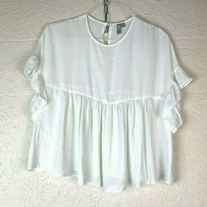 ASOS White Top 8 Peplum Flowy Ruffle Crop Shirt